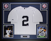 Derek Jeter Autographed and Framed White Yankees Jersey Auto Steiner certified