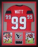 JJ Watt Autographed & Framed Red Texans Jersey Auto JSA COA (Vert)
