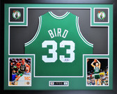 Larry Bird Autographed and Framed Green Celtics Jersey PSA COA (JB)