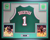 Oscar Robertson Autographed and Framed Green Bucks Jersey Auto JSA COA