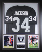 Bo Jackson Autographed and Framed Black Raiders Jersey Auto JSA COA (Vert)