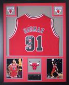 Dennis Rodman Autographed HOF 2011 & Framed Red Bulls Jersey JSA COA (Vert)