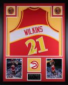 Dominique Wilkins Autographed & Framed Red Hawks Jersey Auto JSA Certified (Vert)