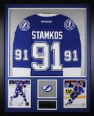 Steven Stamkos Autographed & Framed Blue Lightning Jersey Auto UD Cert (Vert)