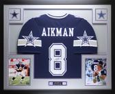 Troy Aikman Autographed & Framed Blue Star Cowboys Jersey Auto JSA Cert