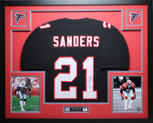 Deion Sanders Autographed and Framed Black Falcons Jersey Auto Certified