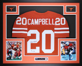 Earl Campbell Autographed HT 77 and Framed Orange Longhorns Jersey JSA COA (L-1)