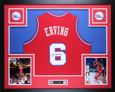 Julius Dr. J  Erving Autographed and Framed Red 76ers Jersey JSA Certified