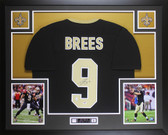 Drew Brees Autographed and Framed Black Saints Jersey Auto PSA Certified