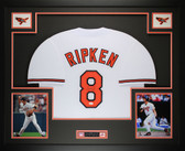 Cal Ripken Jr Autographed and Framed White Orioles Jersey Auto JSA COA(L-1)(Free Shipping!!)