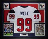 JJ Watt Framed & Autographed White Texans Jersey Auto JSA Cert (L-1)(Free Shipping!!)
