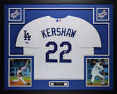 Clayton Kershaw Autographed and Framed White Dodgers Jersey Auto PSA COA D3-L