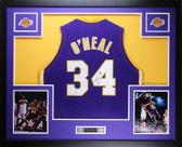 Shaquille O'Neal Autographed & Framed Purple Lakers Jersey Auto JSA COA D4-L
