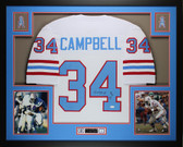 Earl Campbell Autographed HOF 91 and Framed White Oilers Jersey JSA COA D13-L