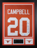 Earl Campbell Autographed HT 77 and Framed Orange Longhorns Jersey JSA COA (D1-S)