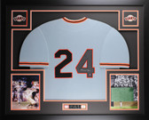 Willie Mays Autographed & Framed Gray Giants Jersey Auto Say Hey Certified D6-L