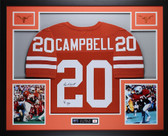 Earl Campbell Autographed HT 77 and Framed Orange Longhorns Jersey JSA Certified