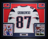 Rob Gronkowski Autographed and Framed White Patriots Jersey Auto Steiner COA D1