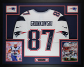 Rob Gronkowski Autographed and Framed White Patriots Jersey Auto Steiner COA D2