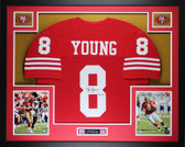 Steve Young Autographed HOF 2005 & Framed Red 49ers Jersey Auto JSA COA D6-L