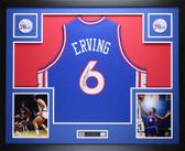 Julius Dr. J  Erving  Autographed &  Framed  Blue 76ers Jersey JSA COA D5-L