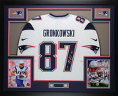 Rob Gronkowski Autographed and Framed White Patriots Jersey Auto Steiner COA D3