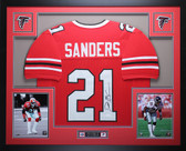Deion Sanders Autographed and Framed Red Falcons Jersey Auto JSA COA D9-L