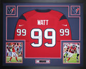 JJ Watt Autographed & Framed Red Texans Nike Jersey Auto JSA COA D11-L