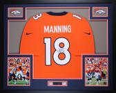 Peyton Manning Autographed & Framed Orange Broncos Jersey Auto Steiner COA D12