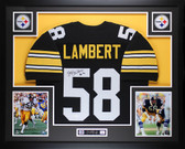 "Jack Lambert Autographed ""HOF 90"" and Framed Black Steelers Jersey Auto JSA Certified"