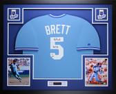 """George Brett Autographed """"HOF 99"""" and Framed Blue Royals Jersey Fanatics COA D3L"""
