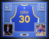 Stephen Curry Autographed & Framed Blue Warriors Jersey Auto Fanatics COA D3-L