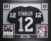 Ken Stabler Autographed and Framed Black Raiders Jersey Auto PSA COA D4-L