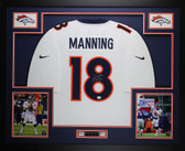 Peyton Manning Autographed & Framed White Broncos Jersey Auto Fanatics COA D13
