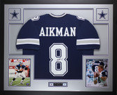Troy Aikman Autographed and Framed Blue Cowboys Jersey JSA COA D9-L