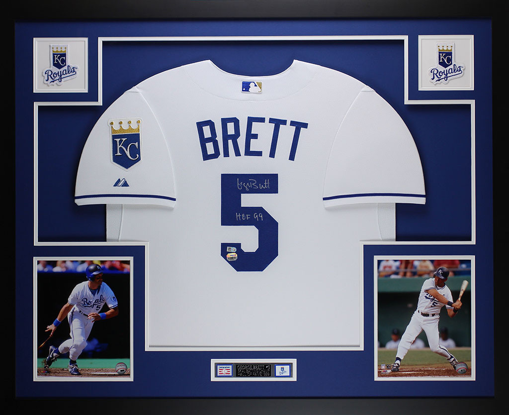George Brett Autographed and Framed White Royals Jersey