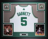 Kevin Garnett Autographed and Framed White Celtics Adidas Jersey Steiner COA D1