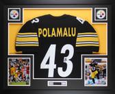 Troy Polamalu Autographed & Framed Black Steelers Jersey Auto JSA COA D4-L