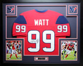 JJ Watt Autographed and Framed Red Texans Jersey Auto JSA Certified