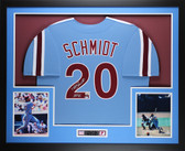 Mike Schmidt Autographed HOF 95 & Framed Blue Phillies Jersey Fanatics  COA
