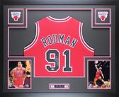 Dennis Rodman Autographed Framed Red Chiacgo Bulls Jersey Auto JSA COA D3-L