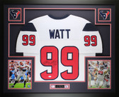 JJ Watt Autographed and Framed White Texans Jersey Auto JSA Certified