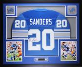 Barry Sanders Autographed & Framed Blue Lions Jersey Auto JSA Cert D5-L