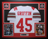 Archie Griffin Autographed HT 1974/75 & Framed White Buckeyes Jersey PSA COA D4