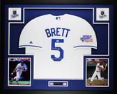 George Brett Autographed 85 WS Champs & Framed White Royals Jersey JSA COA D5L