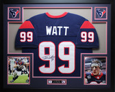 JJ Watt Autographed and Framed Blue Texans Jersey Auto JSA Certified