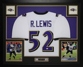 Ray Lewis Autographed and Framed White Ravens Jersey Auto JSA Certified