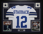 Roger Staubach Autographed and Framed White Cowboys Jersey Auto JSA Certified