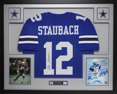 Roger Staubach Autographed and Framed Blue Cowboys Jersey Auto JSA Certified