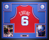 Julius Erving Autographed and Framed Red 76ers Jersey PSA Certified